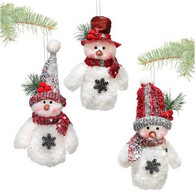 "Fabric hanging snowman 7""H - 3 styles"