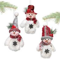 "Fabric hanging snowman 7""H - 3 styles"