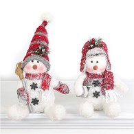 "Fabric Sitting snowman 10""H - 2 styles"