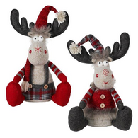 "Fabric Sitting Moose 12"" - 2 styles"