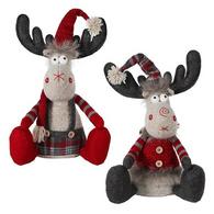 "Fabric Sitting Moose 12"" - 2 styles"
