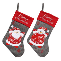 "Fabric Merry Christmas  stocking 18.5""H - 2 styles"