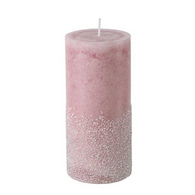 """Pink glittered candle 2.75""""x6""""H"""