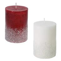 "Assorted burgundy & white glittered candle 2.75""x4""H"