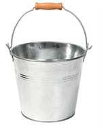 "Galvanized bucket w/handle 9.4""Dx7.2""H"