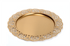 "Gold metal platter with scalloped edge 12.8""D"