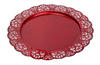 """Red metal platter with scalloped edge 12.8""""D"""