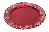 "Red metal platter with scalloped edge 12.8""D"
