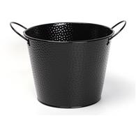 """Black embossed metal bucket with ear handles 9.2""""Dx7.2""""H"""