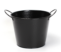 "Black embossed metal bucket with ear handles 9.2""Dx7.2""H"