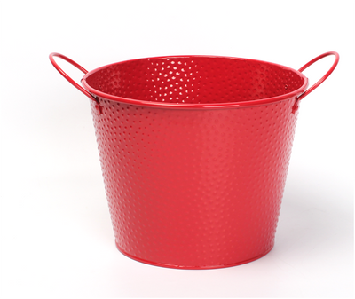"Red embossed metal bucket with ear handles 9.2""Dx7.2""H"