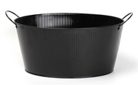 "Oval black metal container with ear handles & stamp 15.2""x11.2""x7.2""H (excluding handles)"