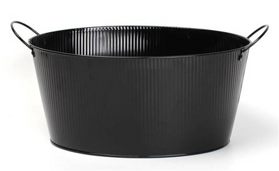 """Oval black metal container with ear handles & stamp 15.2""""x11.2""""x7.2""""H (excluding handles)"""