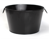 "Round black metal container with ear handles & stamp 15.2""Dx9.2""H"