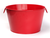 "Round red metal container with ear handles  15.2""Dx9.2""H"