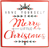 "Merry Little Christmas metal hanging plaque 12""x12"""