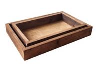"""Set of 2 brown wood trays S: 13""""x8""""x2"""", L: 15""""x10""""x2""""H"""