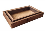 "Set of 2 brown wood trays S: 13""x8""x2"", L: 15""x10""x2""H"