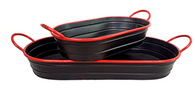 "Largest in set of 2 black metal trays with red rim & handles 27x10x3""Hx5""OH (dimensions are handle to handle, opening is 23"")"