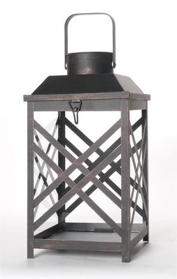 "Vintage-black metal and glass lantern 8""x8""x13""H"