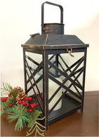 "Vintage-black metal and glass lantern 8""x8""x13""H"