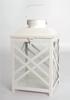 """Vintage-white metal and glass lantern 8""""x8""""x13""""H"""