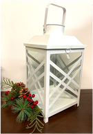"Vintage-white metal and glass lantern 8""x8""x13""H"