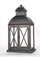 "Vintage-black metal and glass lantern 10""x6""x16""H"