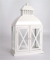 """Vintage-white metal and glass lantern 10""""x6""""x16""""H"""