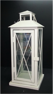 "White iron and glass lantern 6""x6""x15""H (min 2,6/crtn)"