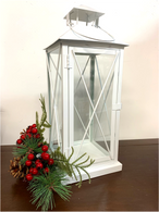 "White iron and glass lantern 6""x6""x15""H (min 2,6/crtn)"