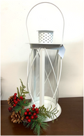 "White iron and glass lantern 7""Dx15""H"
