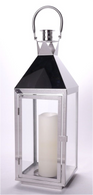 "Stainless steel and glass lantern 7.2""x7.2""x22""H CANDLE EXCLUDED"