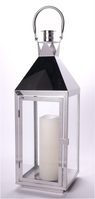 """Stainless steel and glass lantern 7.2""""x7.2""""x22""""H CANDLE EXCLUDED"""