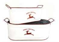 "Smallest in set of 2 White & galvanized metal container with Reindeer and Merry Christmas Design 13""x6""x5""H"