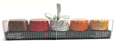 Canada Coast to Coast Chocolate assortment (5 flavours) 62 gr., 12/cs Flavours (1 ea) Double Dark, Milk & Dark Maple, Hazelnut & Sea Salt Caramel
