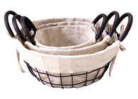 "Set of 3 Round iron basket with canvas liner S: 7.5""Dx4""H, M:9.5""Dx4.5""H, L: 11.5""Dx5""H"