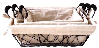 "Set of 3 Rectangular crazy weave iron basket with canvas liner S: 10""x6""x4""H, M:12""x8""x4.5""H, L: 14""x10""x5""H"