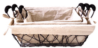 "Set of 3 Rectangular crazy weave iron basket with canvas liner S: 10""x6""x4""H, M:12""x8""x4.5""H, L: 14""x10""x5""H"