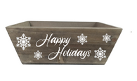 "Rectangular tapered ""Happy Holidays"" wood container  11""x7""x4""H"