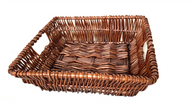 "Square willow basket 10""x10""x3.5""H"