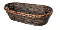 "Long oval willow & chipwood basket 22""x11""x6""H"