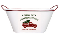 "Oval white Metal container with Christmas truck design 15""x7""x6""H"