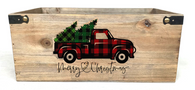 "Rectangular wood container with Christmas  Truck design 14""x8""x6""H"