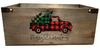 """Rectangular wood container with Christmas  Truck design 14""""x8""""x6""""H"""