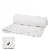 """White lined pattern soft throw - approx 56""""x72"""""""