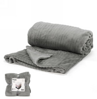"""Grey lined pattern soft throw - approx 56""""x72"""""""