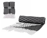 "Black and white throw with fringe - approx 52""x64"""