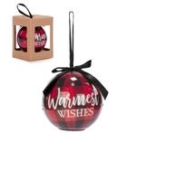 "3"" LED Plaid Ornament ""Warmest Wishes"""