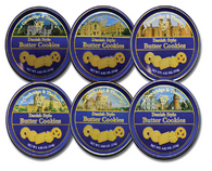 Cambridge & Thames Danish Style Butter Cookies Assorted Castles designs 114 gr., 24/cs. Each case of 24 contains 4 of each 6 Castle designs